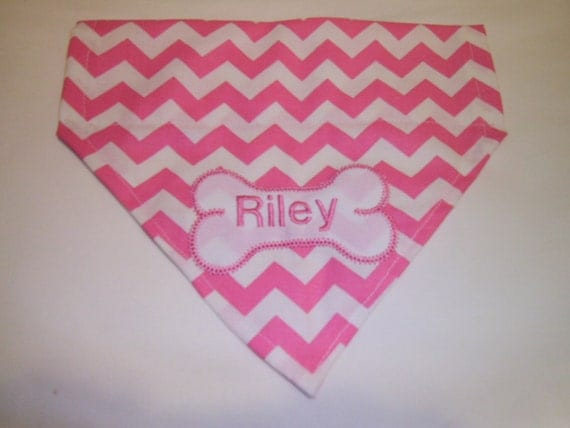 Dog Bandana, Chevron, Pink, Personalized, Monogram, Over the Collar, dog scarf, Embroidery