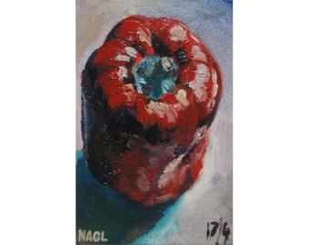Red Bell Pepper (April 2014) original still life oil painting available with mini easel