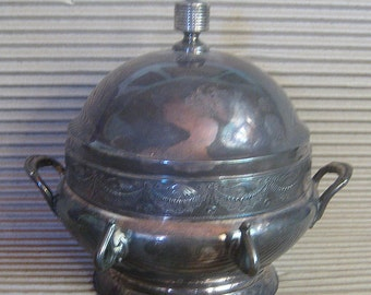 Circa 1880 Vintage Silverplate Silver Plate Quadruple Plate Aesthetic Movement Covered Butter Server Victorian