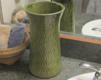 Vintage 10 Inch Diamond Shaped Pattern Green Pottery Vase 1930 Era