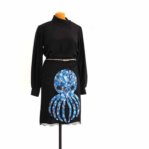 octopus skirt in black lace - black lace with blue feather print - upcycled applique clothing - women size small