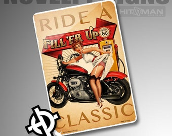Personalized Metal Sign -NS1012- Custom Metal Sign Airbrush Metal Sign Metal Parking Sign - Ride A Classic. Harley Davidson Pinup