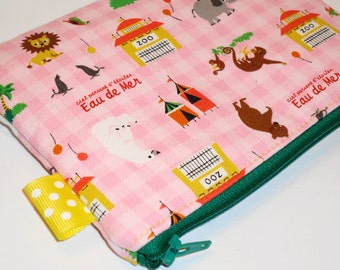 Circus Animals Padded Zippy Pencil Pouch -- Eau De Mer (Pink)