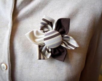 Brown and Tan Flower Brooch, Flower Pin - Handmade Fabric Flower