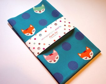 Fat Quarter fabric, MAGICAL FOXES fabric print, quilting fabric, polka dots fabric, cotton fabric, fox print, teal color fabric, fox fabric