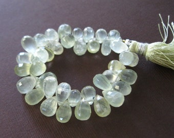 Quality Frosty Green Prehnite Step Cut Faceted Briolette
