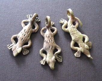 Rustic Organic African Tribal Alligator Brass Charm Pendant