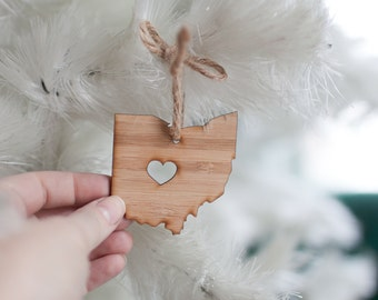 Ohio State Shaped Ornament - Bamboo - I heart Ohio Ornament Wooden Ornament OH State Buckeyes Ornament Car Mirror Charm Tree Ornament