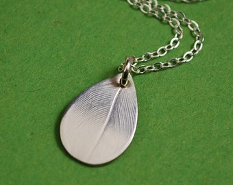 Silver Dew Drop Necklace, Real Nature Impression