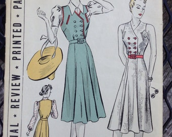 Vintage 40s Jumper Style Dress Pattern Flared Skirt Pictorial Review 9692