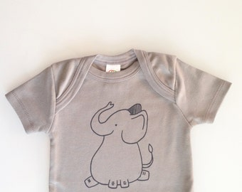 Elephant - baby gift - screen printed baby one piece - gender neutral shower gift - elephant vest 3-6m