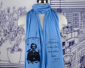 Edgar Allan Poe Screen printed Cotton Scarf