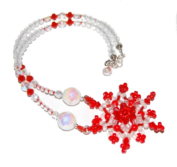 Red and White Beadwoven Snowflake Necklace