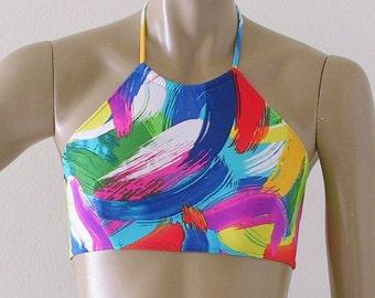High Neck Halter Bikini Top in Brushstroke Print in S-M-L-XL
