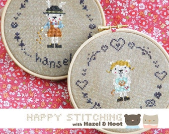 Hansel and Gretel Counted Cross Stitch PDF Pattern - Happy Stitching with Hazel and Hoot