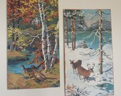 Set of 2 Vintage paint by number Deer and Pheasant cabin art