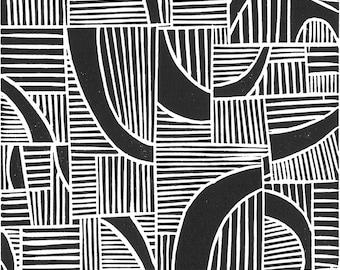 "JUXTAPOSITION -  Lino Print - Modern Minimalist Print - 8""x10"" Linocut Print - Ready to Ship"