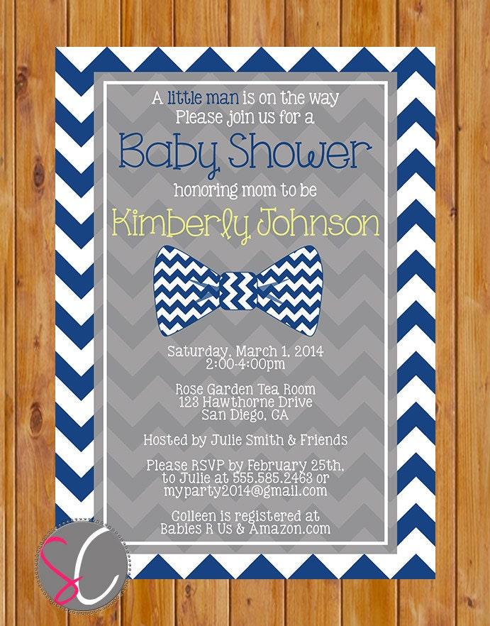 little man bow tie baby shower invitation navy blue chevron
