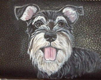 Schnauzer Dog Custom Painted Leather Checkbook Cover