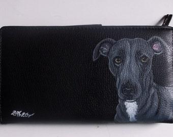 Gray Whippet Dog Custom Painted Women's Wallet