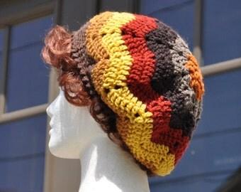 Brown and Orange Ripple Crochet Hat - Lightweight Beret - Chevron Hat - Women's Hat - Autumn Accessories