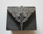 Vintage Letterpress Printers Block Metal Decorative Floral Ornament