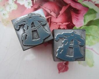 Pair of Vintage Letterpress Printers Block Bells