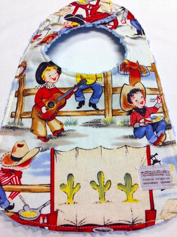 Boy's Baby Bib in vintage cowboy print