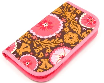 Travel Zip Around Knitting Needle Case - Fortune - pink pockets zipper