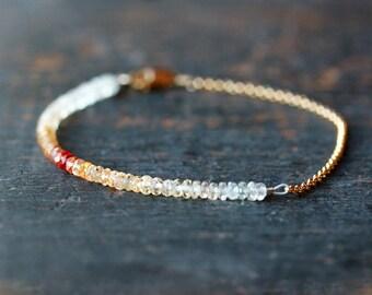 Ombre Bracelet, Orange Sapphire Beaded Bracelet, Sapphire Bracelet, Premium Gemstone Color Spectrum, 14k Gold Filled, Handmade Jewelry