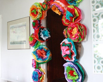 Mexican Paper Flowers Photo Wall Tissue Pom Poms Multicolor -Multicolor Wedding Flowers