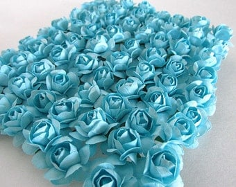 Mulberry Paper Roses Small One Dozen Turquoise Invitation Scrapbooking Cards