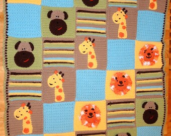 Jungle Pals Baby Blanket CROCHET PATTERN - Ponte Pretties