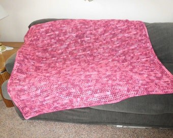 BREAST CANCER AWARENESS afghan, blanket, throw Pink Pink Pink