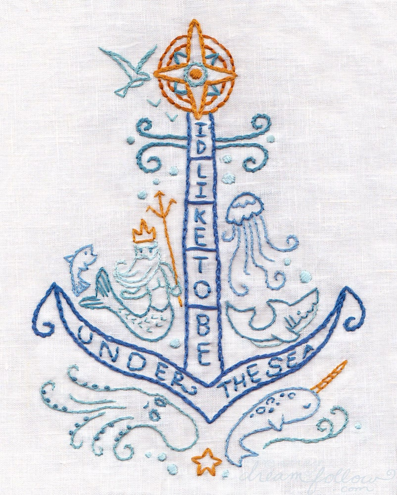 Under the sea embroidery pattern nautical decor pdf download zoom bankloansurffo Gallery