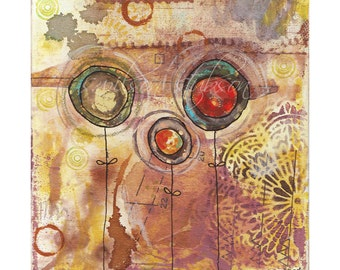 3 brown flowers (mixed media reproduction)