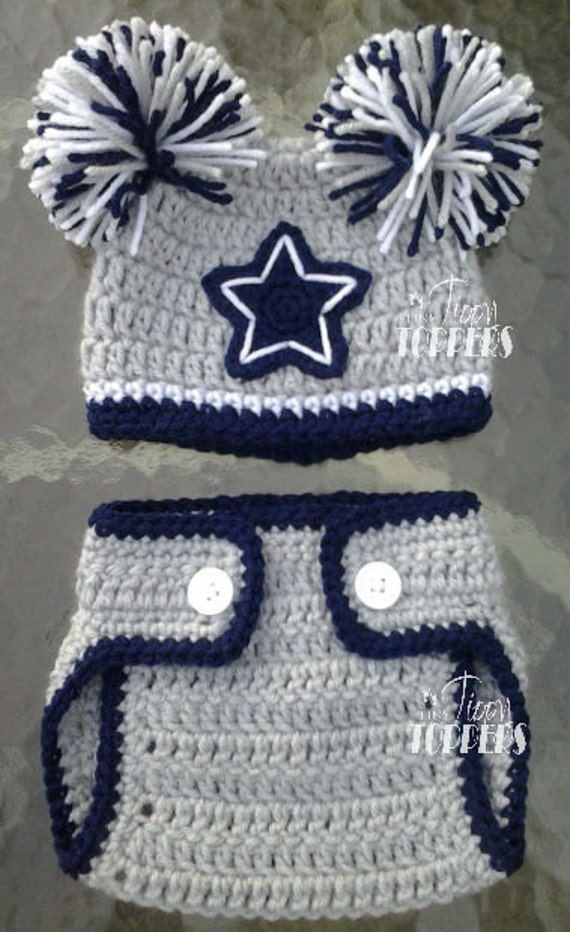 Dallas Cowboys Crochet Baby Hat Pattern : Crocheted DALLAS COWBOYS Hat and diaper cover by ...