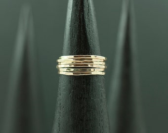 Six Stacking Promise Rings in Recycled Gold - Free Shipping