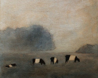 Cow art landscape Print of Cows in the mist - art print of original oil painting Belted cows