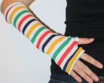 Red Green Yellow Blue Red and White Striped Arm Warmers