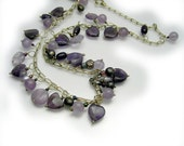 Treasure Heart Necklace Sterling Silver amethyst purple and pearl  by Cathleen McLain McLainjewelry