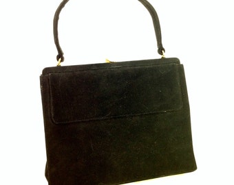 1950s black nubuck purse by Palizzio