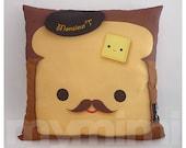"12 x 12"" Pillow, Brown Pillow, Food Pillow, Mustache Toast Pillow, Cotton Pillow, Kawaii Pillow, Kids Cushion, Decorative Pillow"