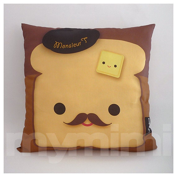"""16 x 16"""" Pillow, Brown Pillow, Food Pillow, Mustache Pillow, Cotton Pillow, Kawaii Pillow, Accent Pillow, Kids Cushion, Decorative Pillow,"""
