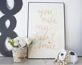 You Make My Heart Smile Art Print - 11x17 Gold