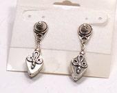 Detailed Bali & Sterling Silver Bead Post Earrings