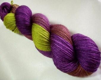 Hand dyed yarn, ultra soft yarn, merino silk yarn, hand painted yarn, superwash, sock yarn, PURPLE RHUBARB, 440yds, 400m