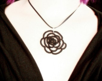 Tatted Lace Pendant - Rose Tattoo - Black