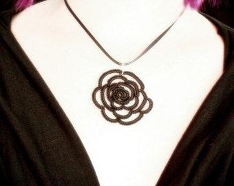 Tatted Lace Pendant - Rose Tattoo - Black