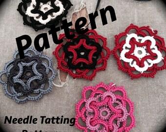 PDF Needle Tatting Pattern - Star Flower Motif